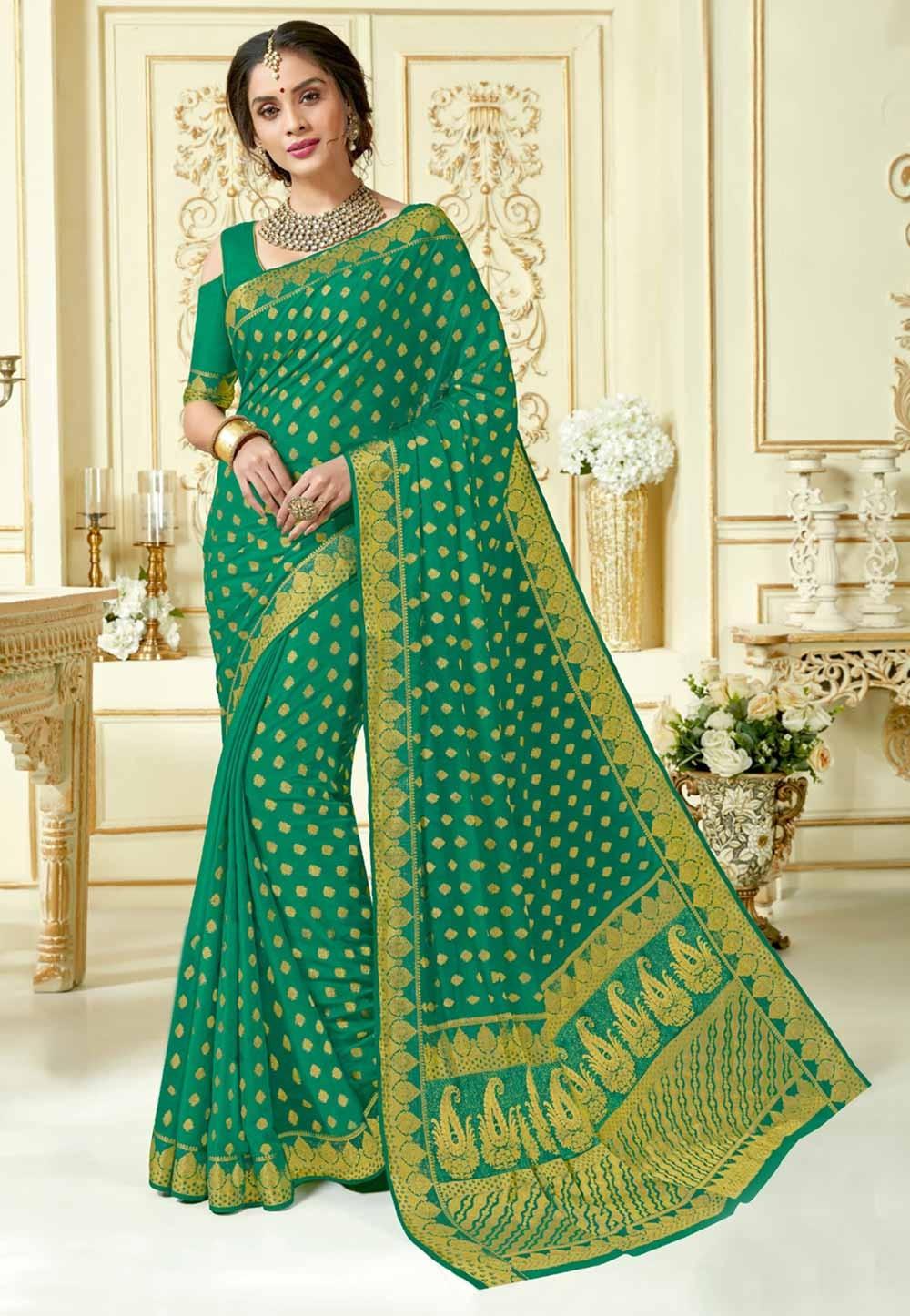 Green Colour Designer Sari.