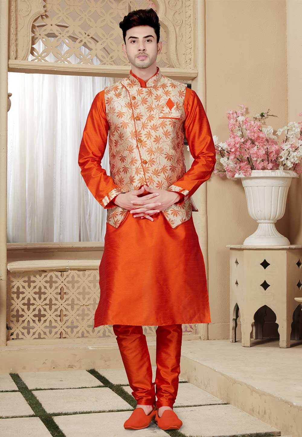 Orange,Beige Traditional Kurta Pajama.