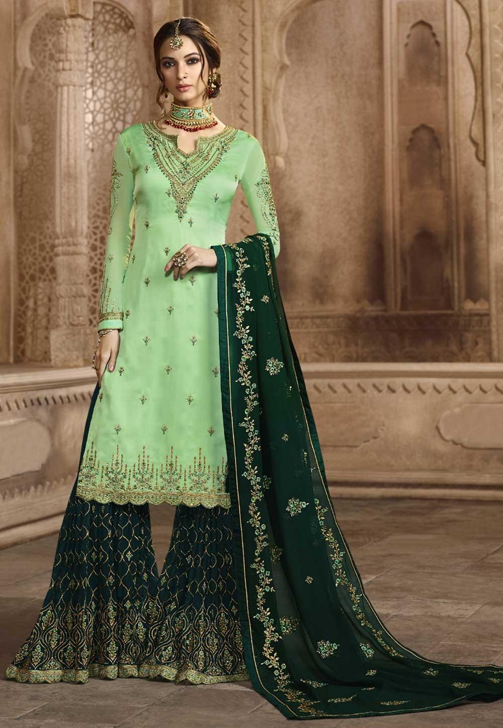 Green Colour Sharara Salwar Kameez.
