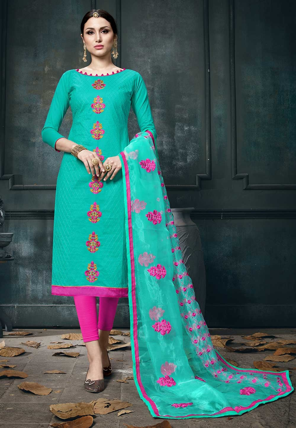 Green Colour Cotton Salwar Kameez.