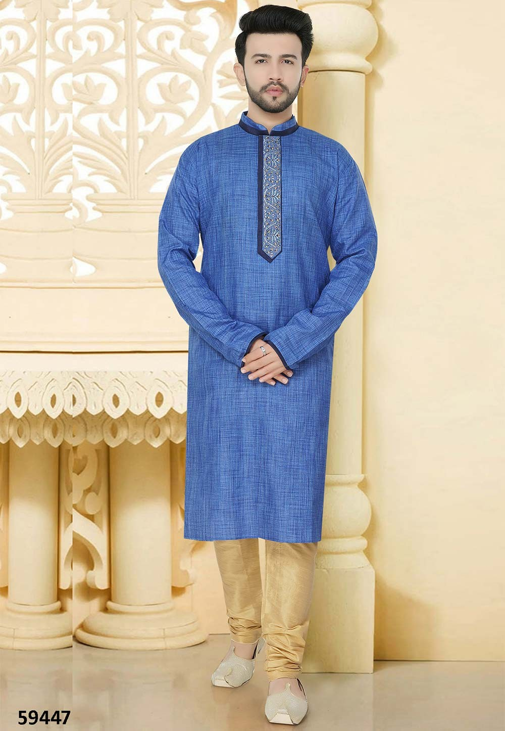 Blue Colour Kurta Pyjama.