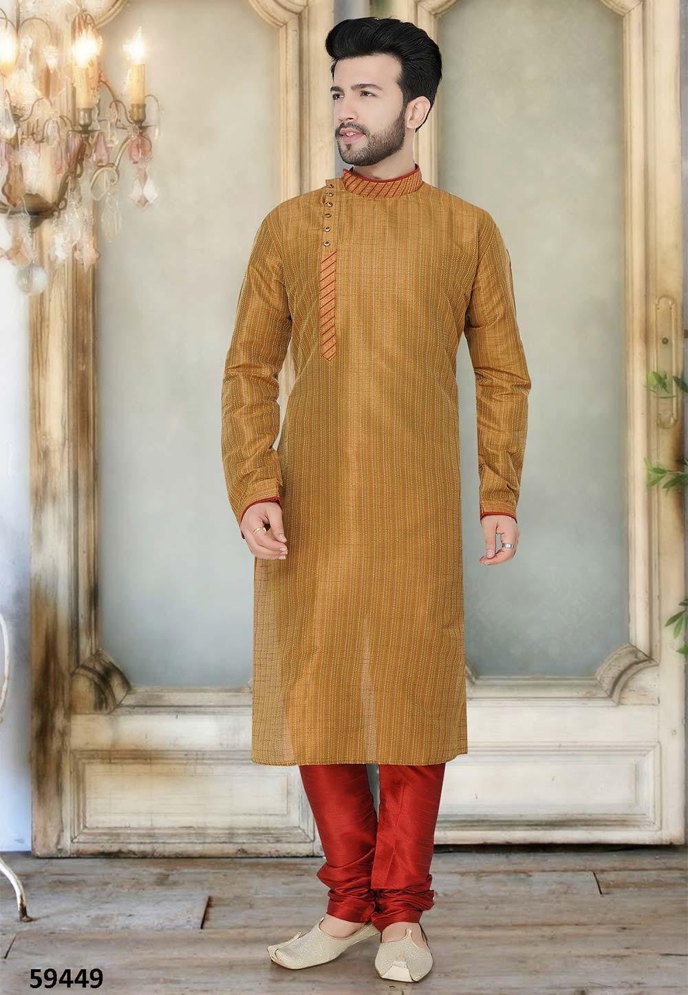 Buy stylish kurta pyjama online in brown colour
