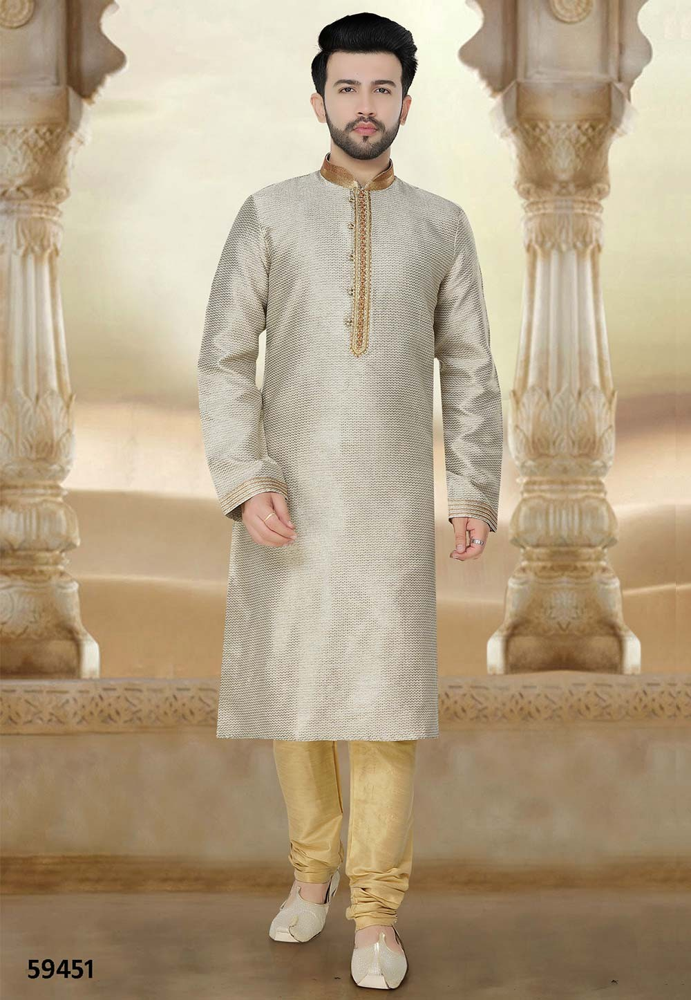 Buy readymade kurta pyjama online in grey colour online