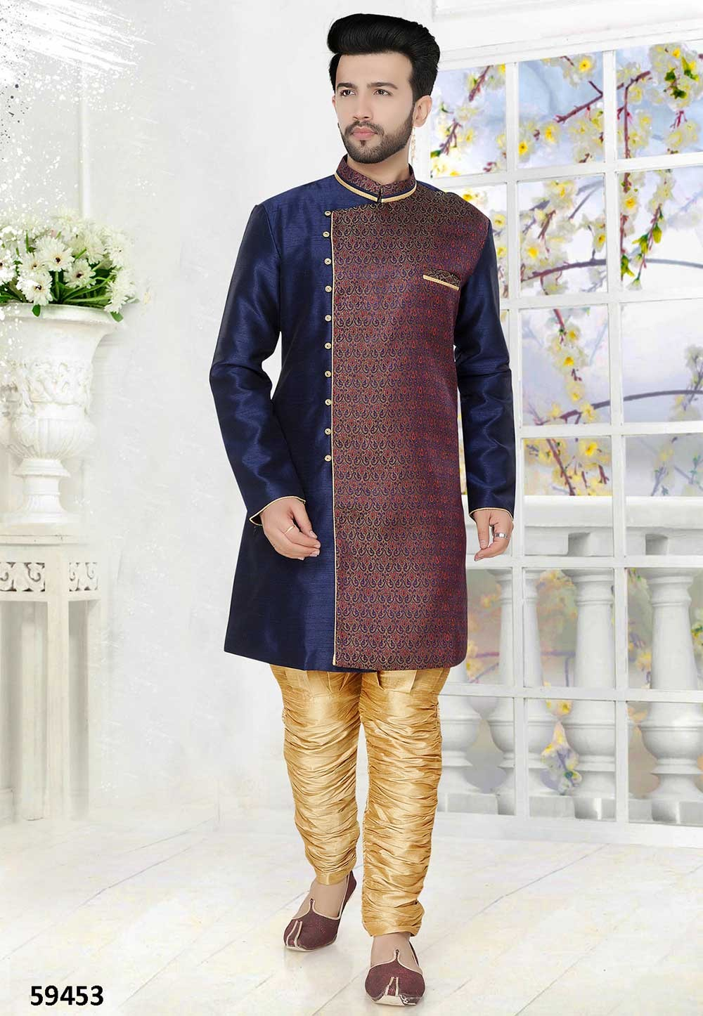 Buy wedding kurta pyjama online in blue colour