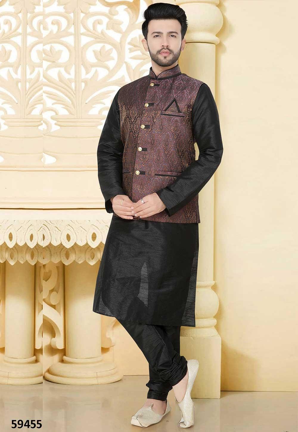 Buy kurta pyjama online in black, purple colour