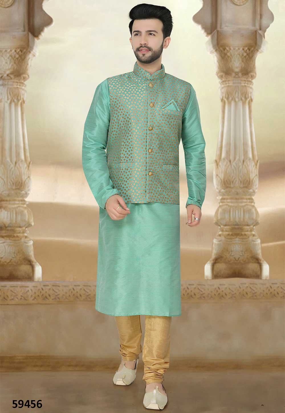 Buy designer silk kurta pajama in green colour online