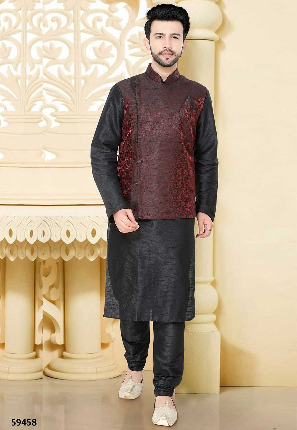 Buy designer kurta pajama in black, maroon