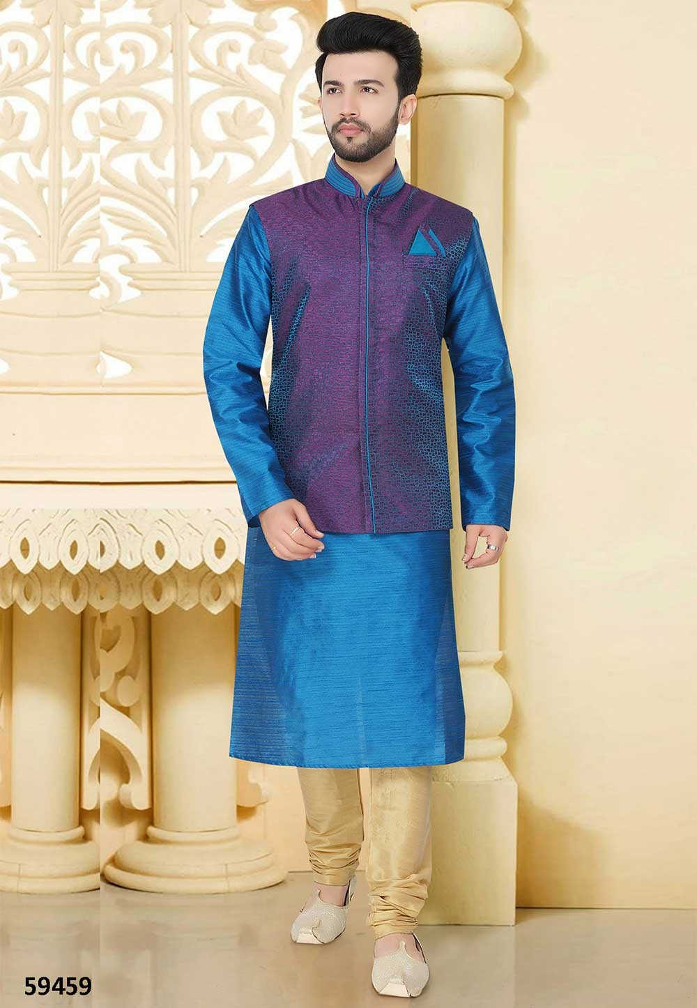 Buy latest kurta pyjama online in blue colour for men