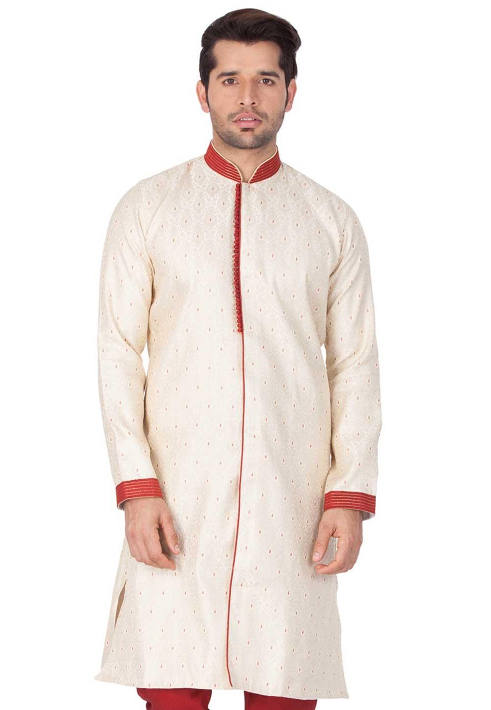 Cream Colour Plain Indowestern.