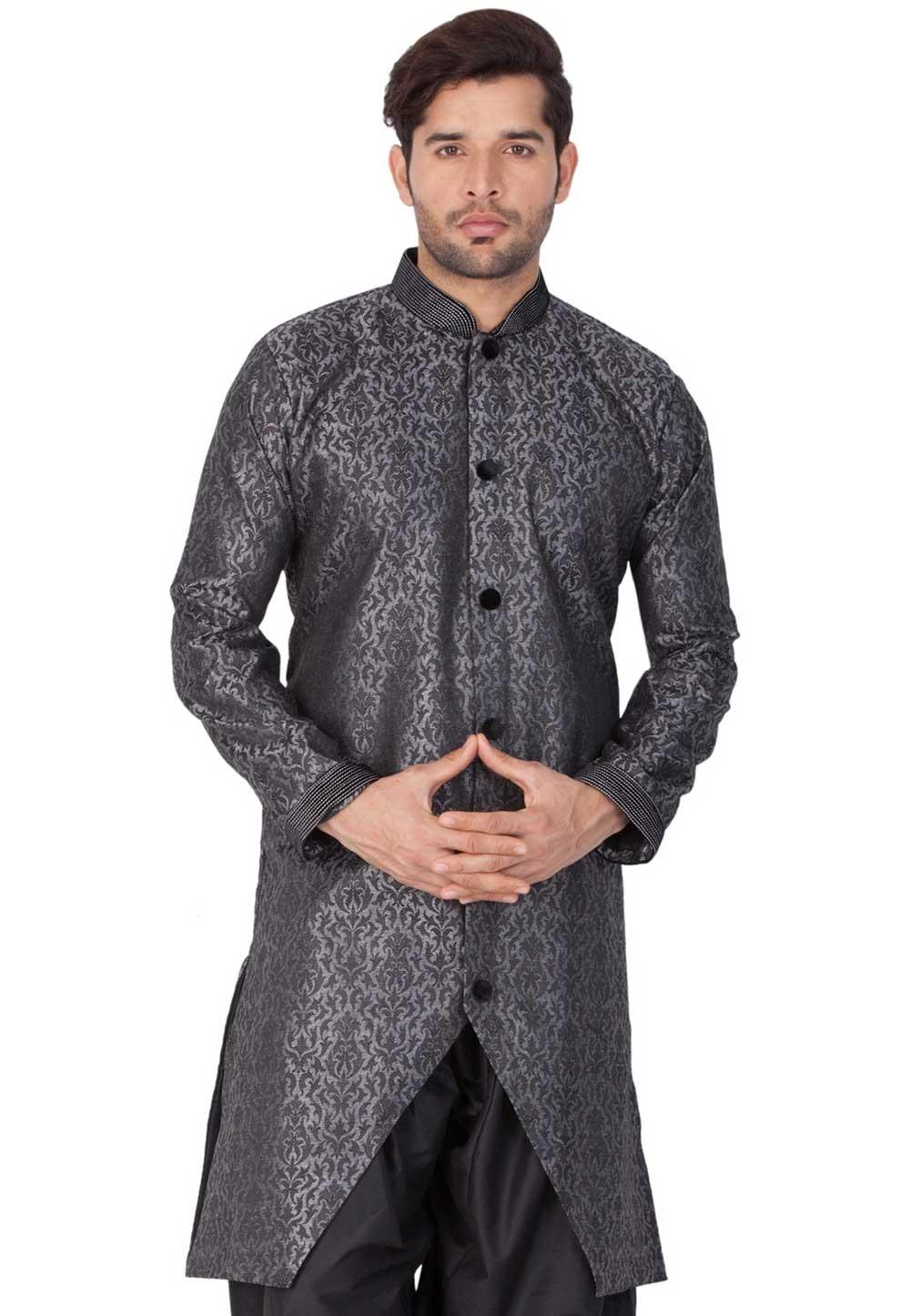 Grey Colour Silk Indowestern.