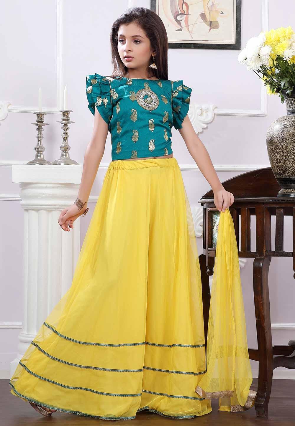 Green,Yellow Colour Designer Lehenga.