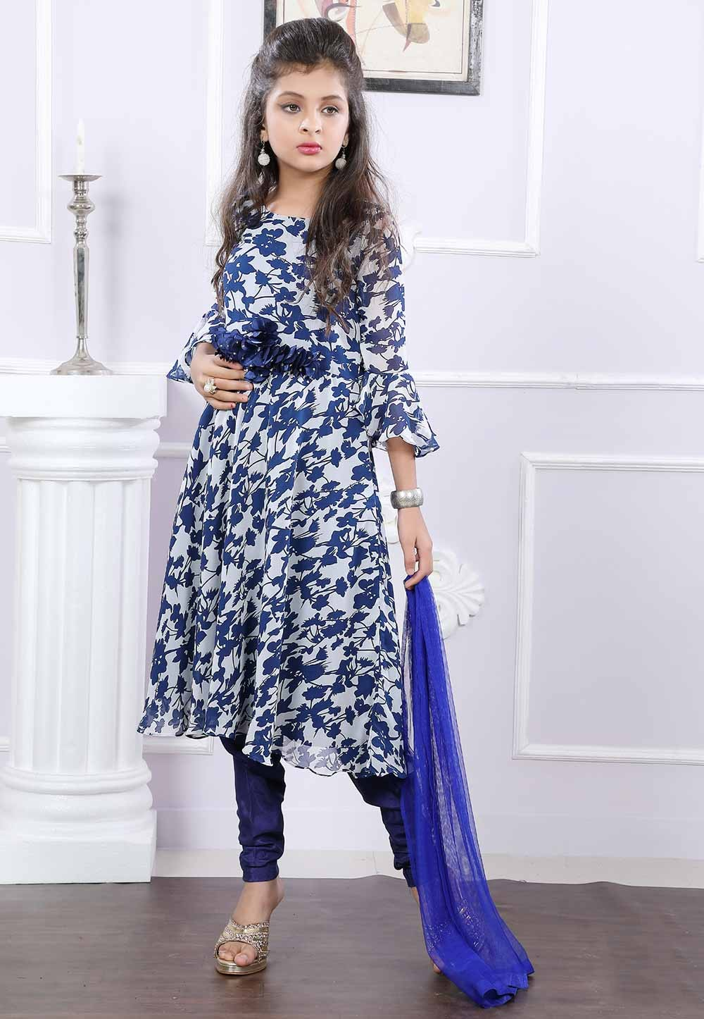 Girl's Off White,Blue Colour Salwar Kameez.