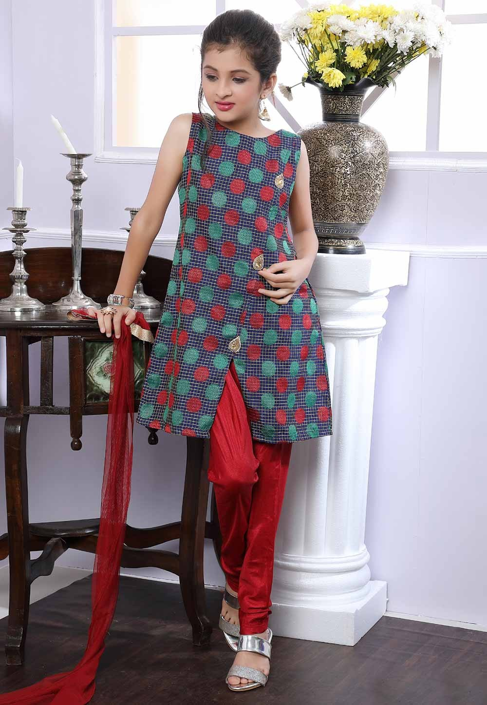 Girl's Maroon,Blue Colour Salwar Suit.
