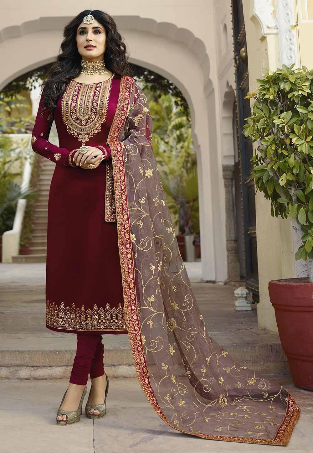 Magenta Colour Designer Salwar Kameez.