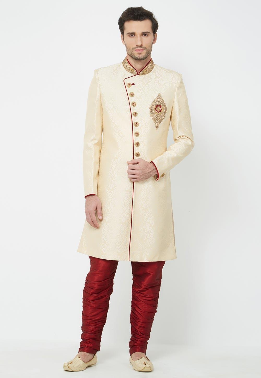 Cream Colour Wedding Indowestern.