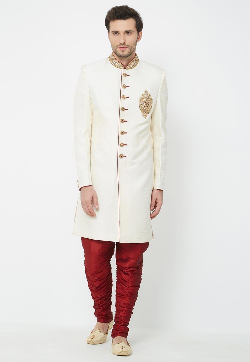 Cream Colour Indian Wedding Indowestern.