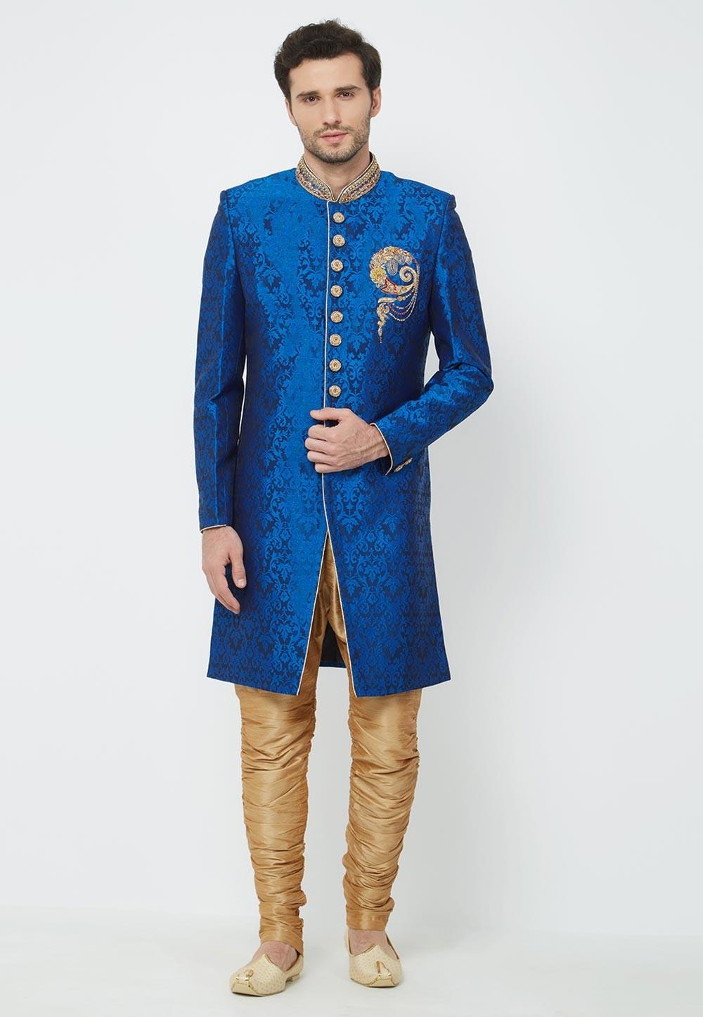 Blue Colour Wedding Indowestern.