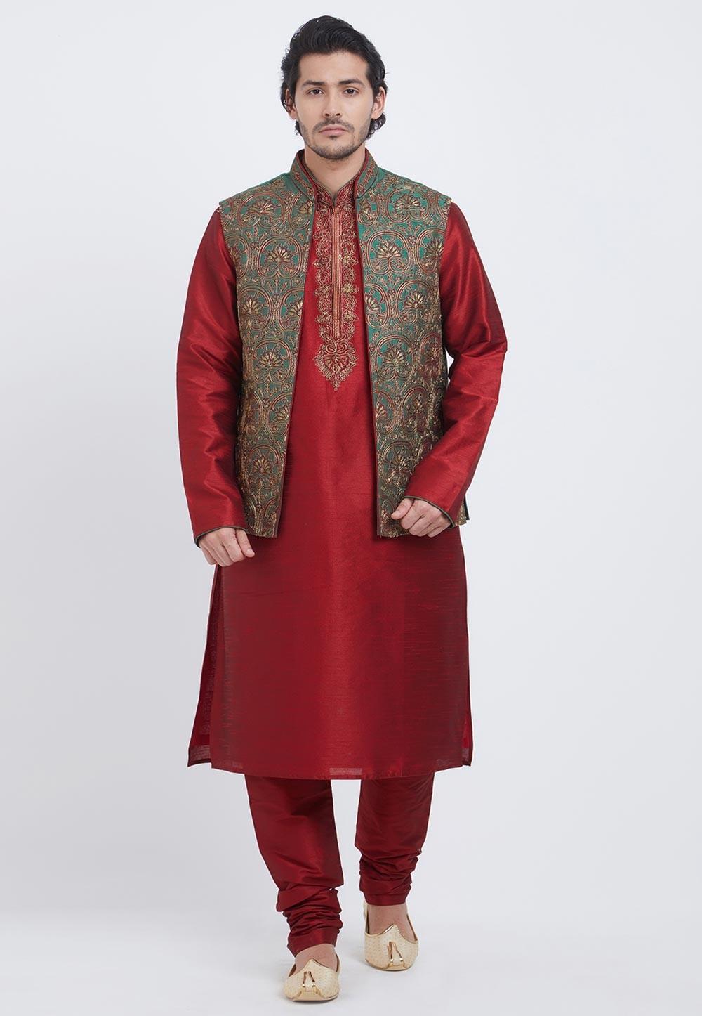 Maroon,Green Colour Designer Kurta Pajama.