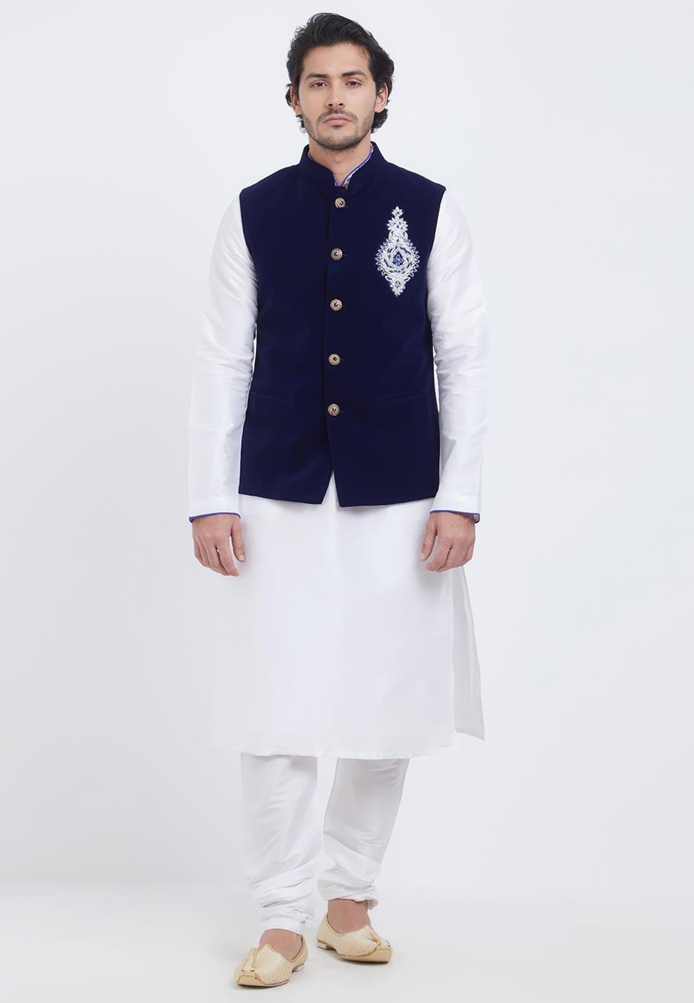 White,Blue Colour Kurta Pajama Jacket.