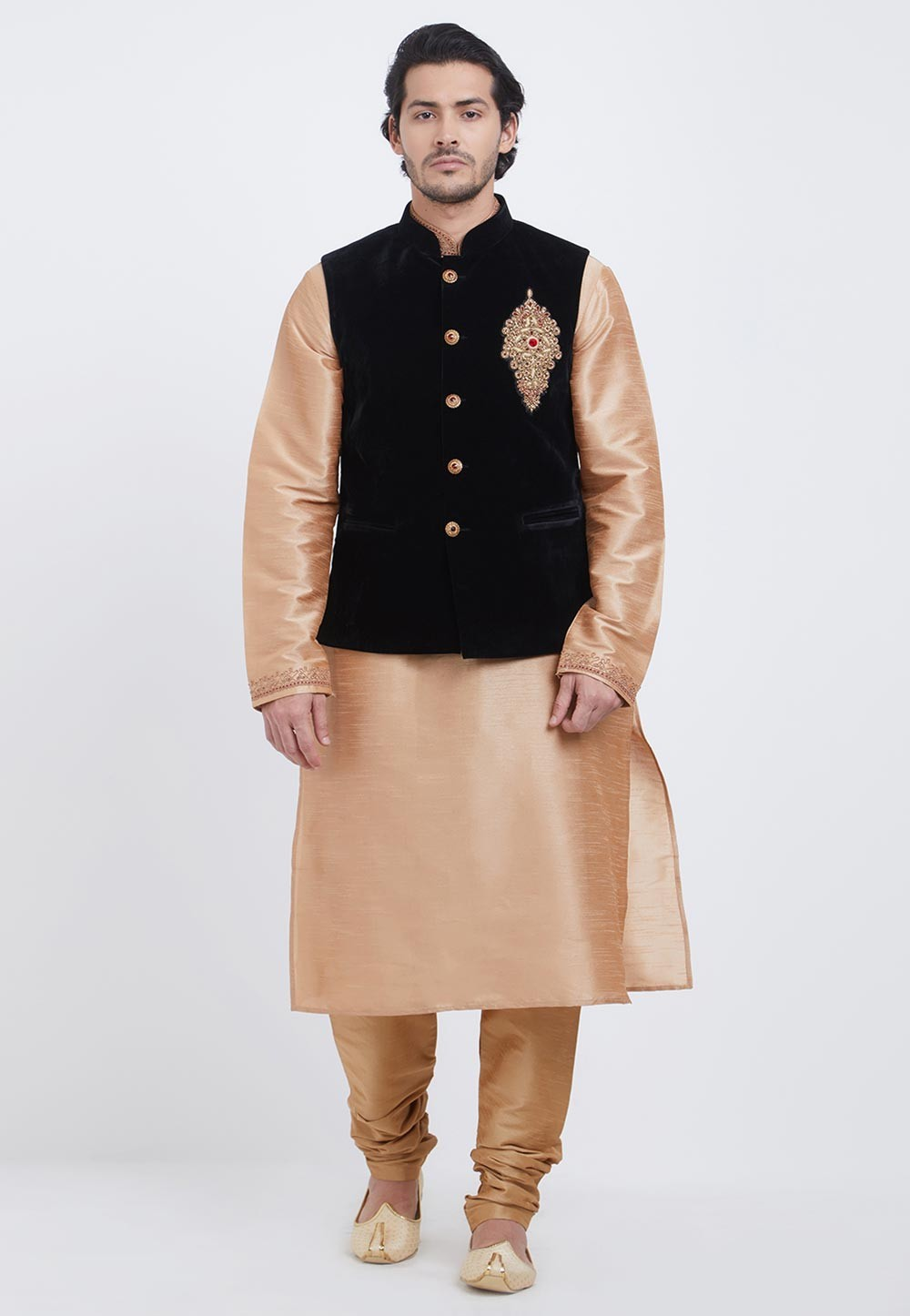 Golden,Black Colour Kurta Pajama Jacket.