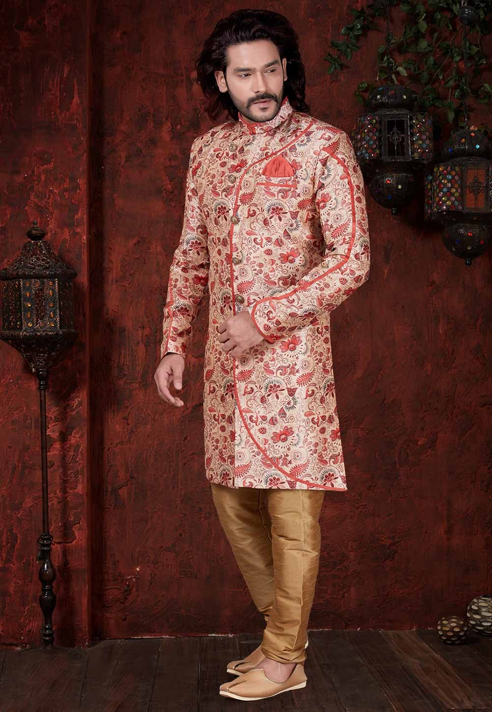 Red,Cream Colour Party Wear Indowestern.