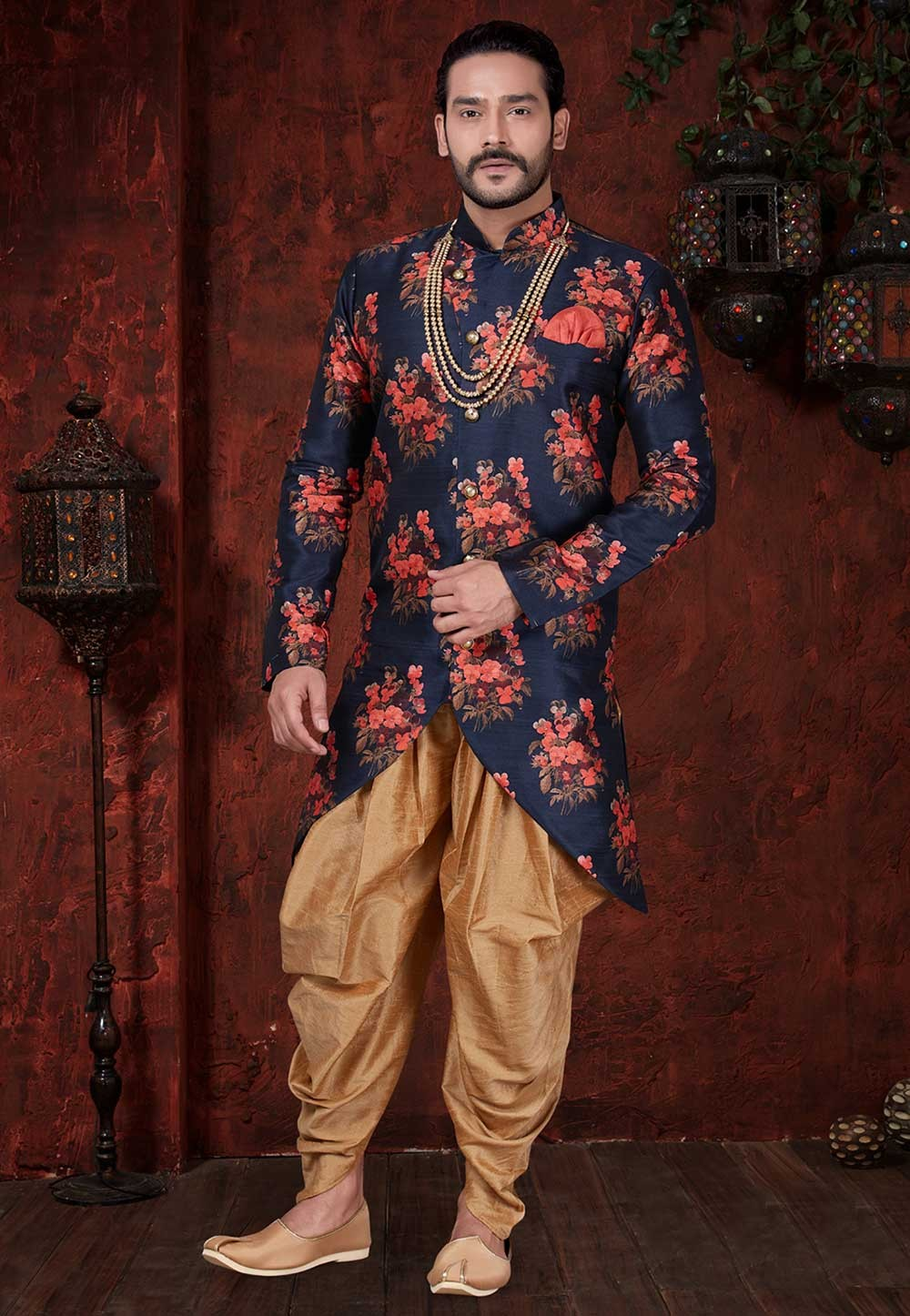 Blue,Red Colour Party Wear Indowestern.