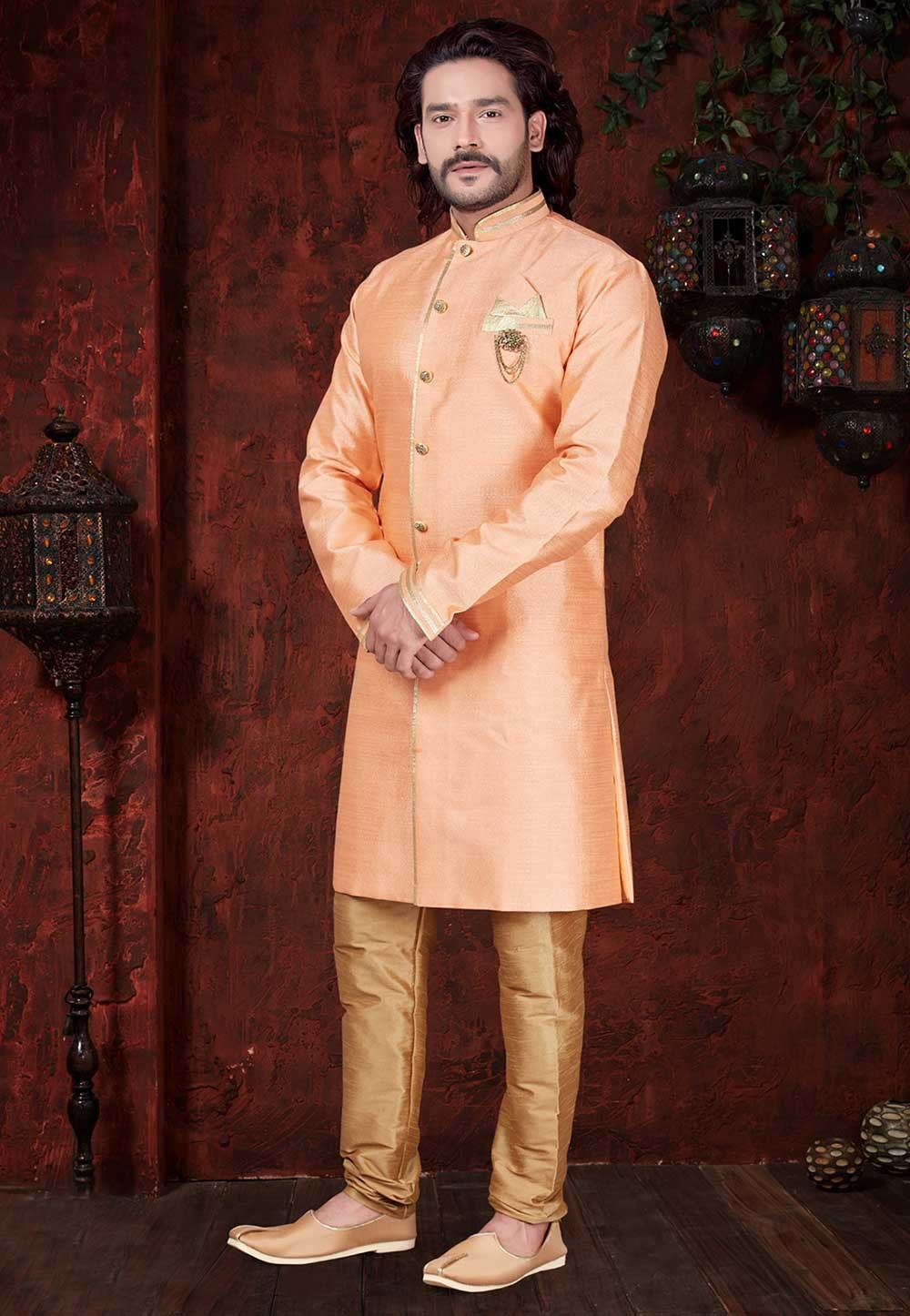 Orange Colour Plain Indowestern.