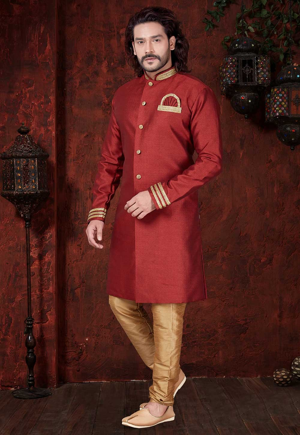 Maroon Colour Designer Indowestern.