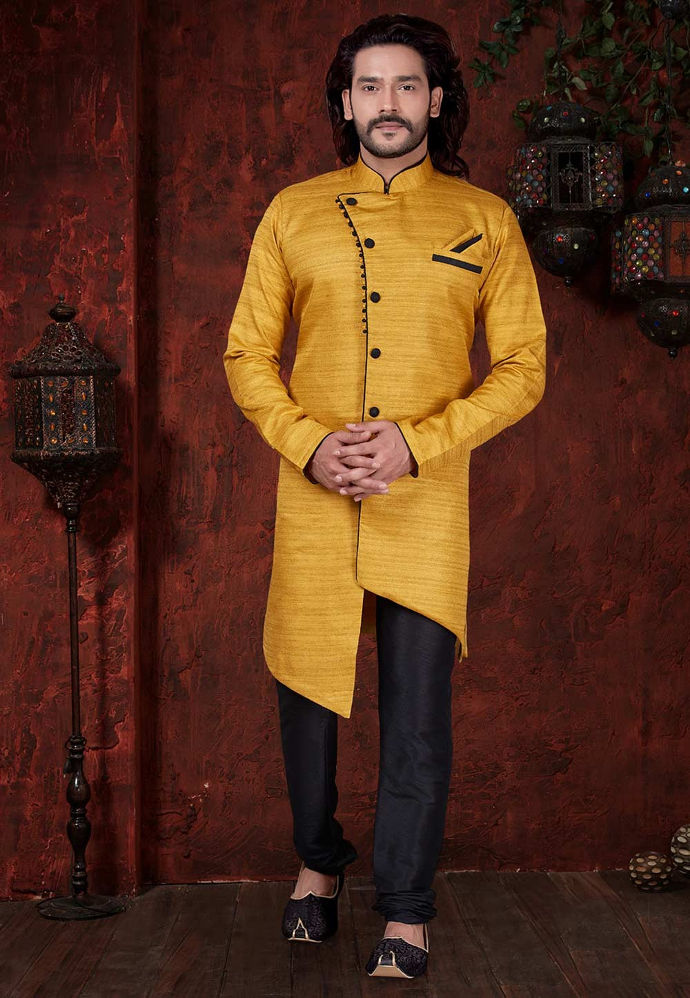 Yellow Colour Plain Indowestern.