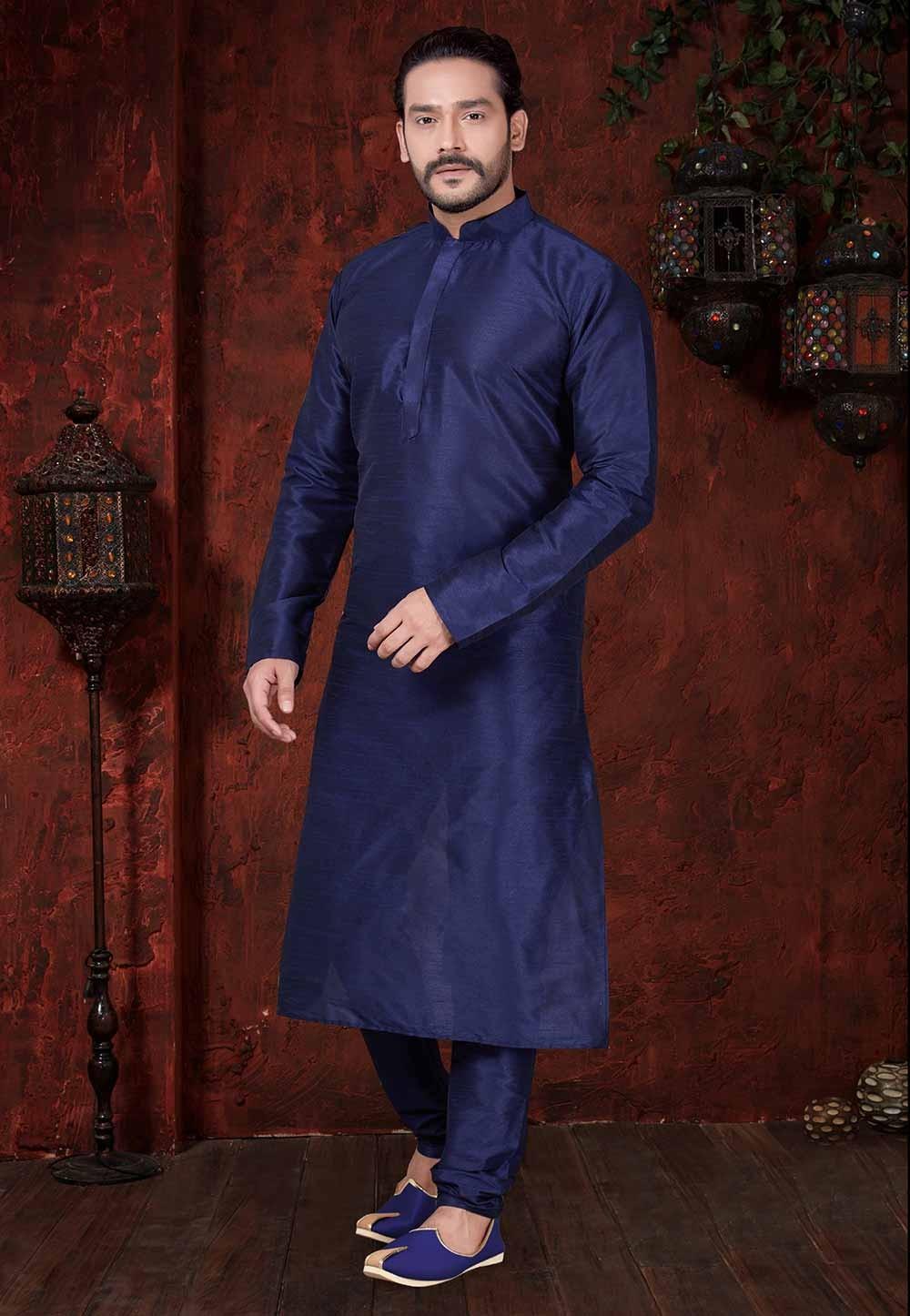 Blue Colour Plain Readymade Kurta Pajama.