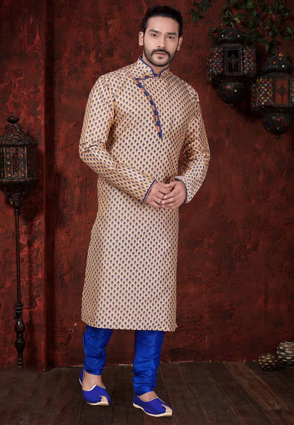 Beige Colour Printed Kurta Pajama.