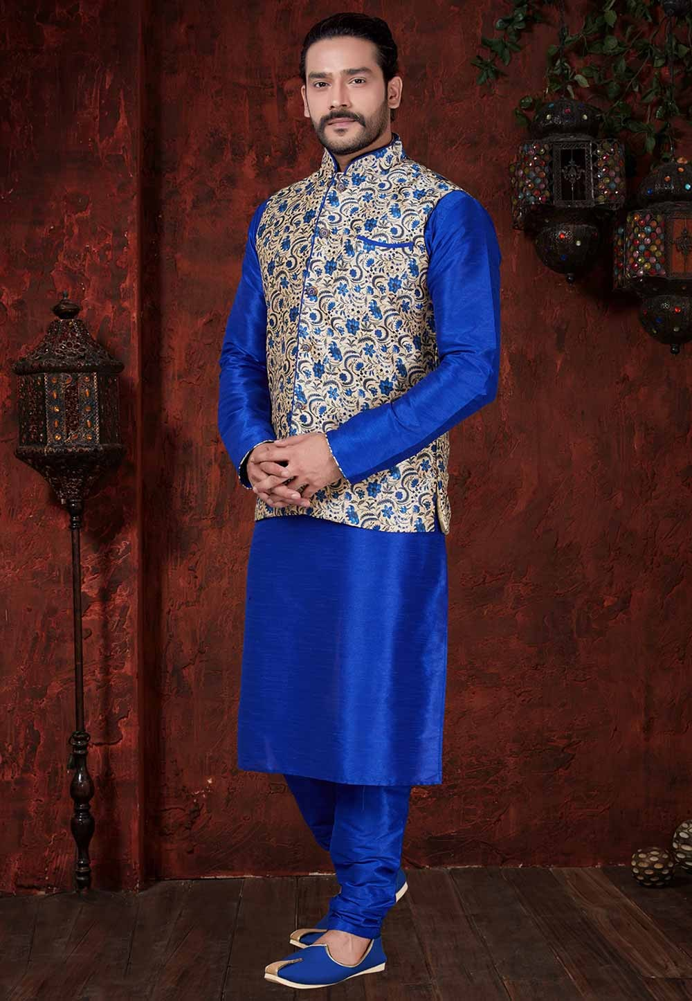 Cream,Blue Wedding Kurta Pajama.