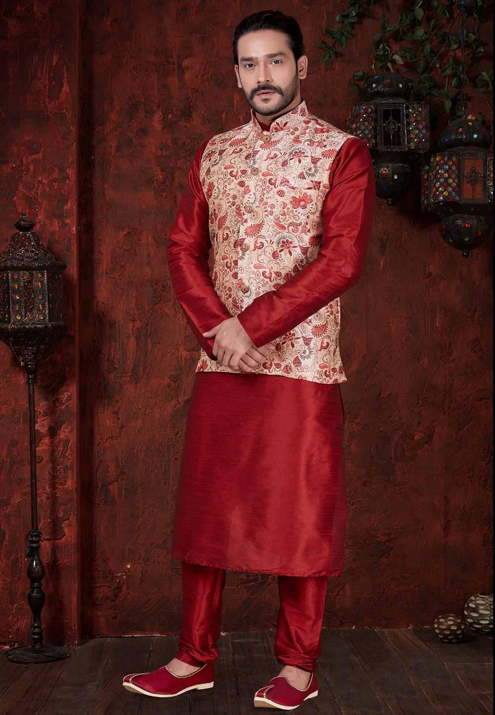 Maroon Colour Indian Designer Kurta Pajama.