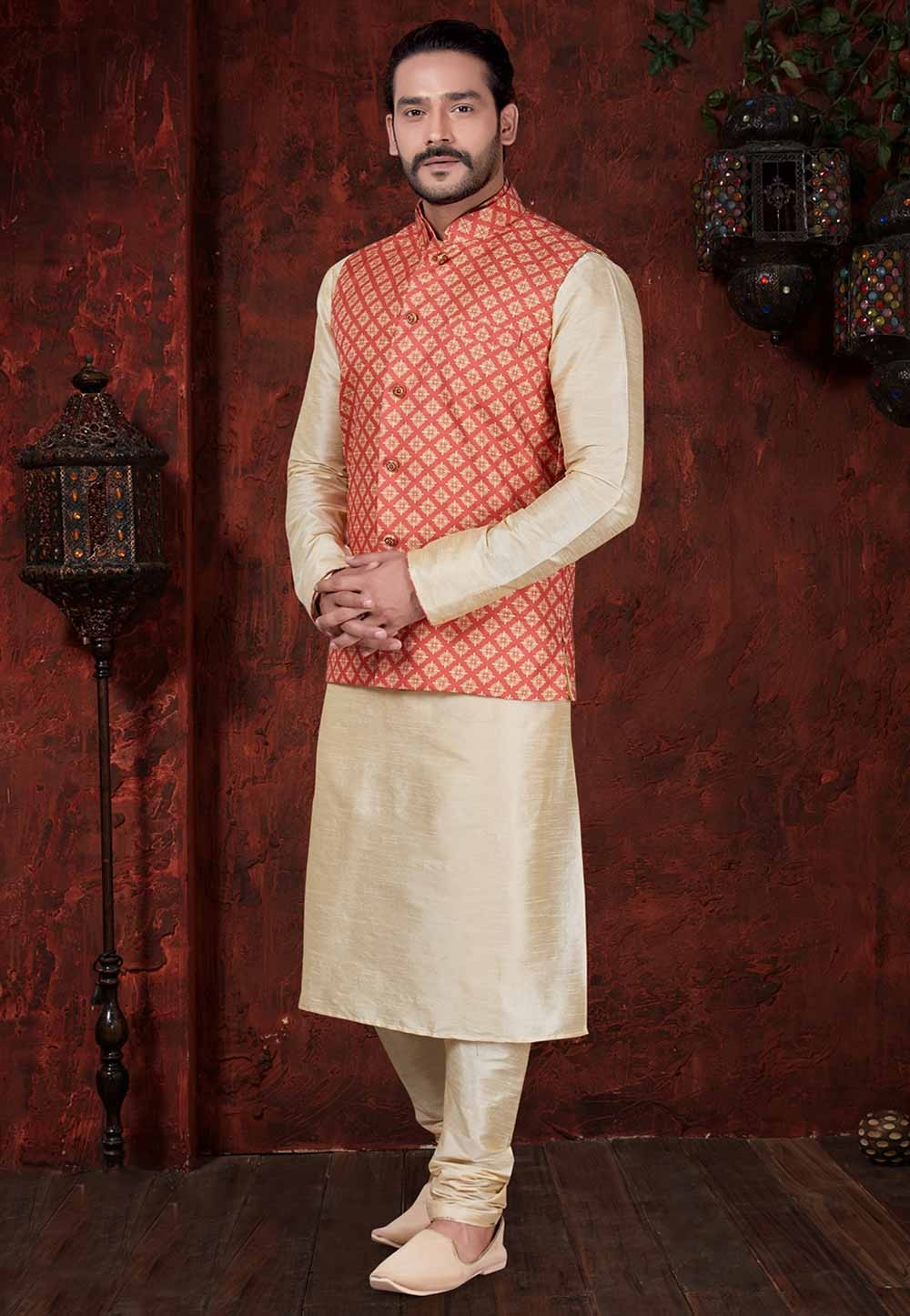 Cream,Red Indian Wedding Kurta Pajama.
