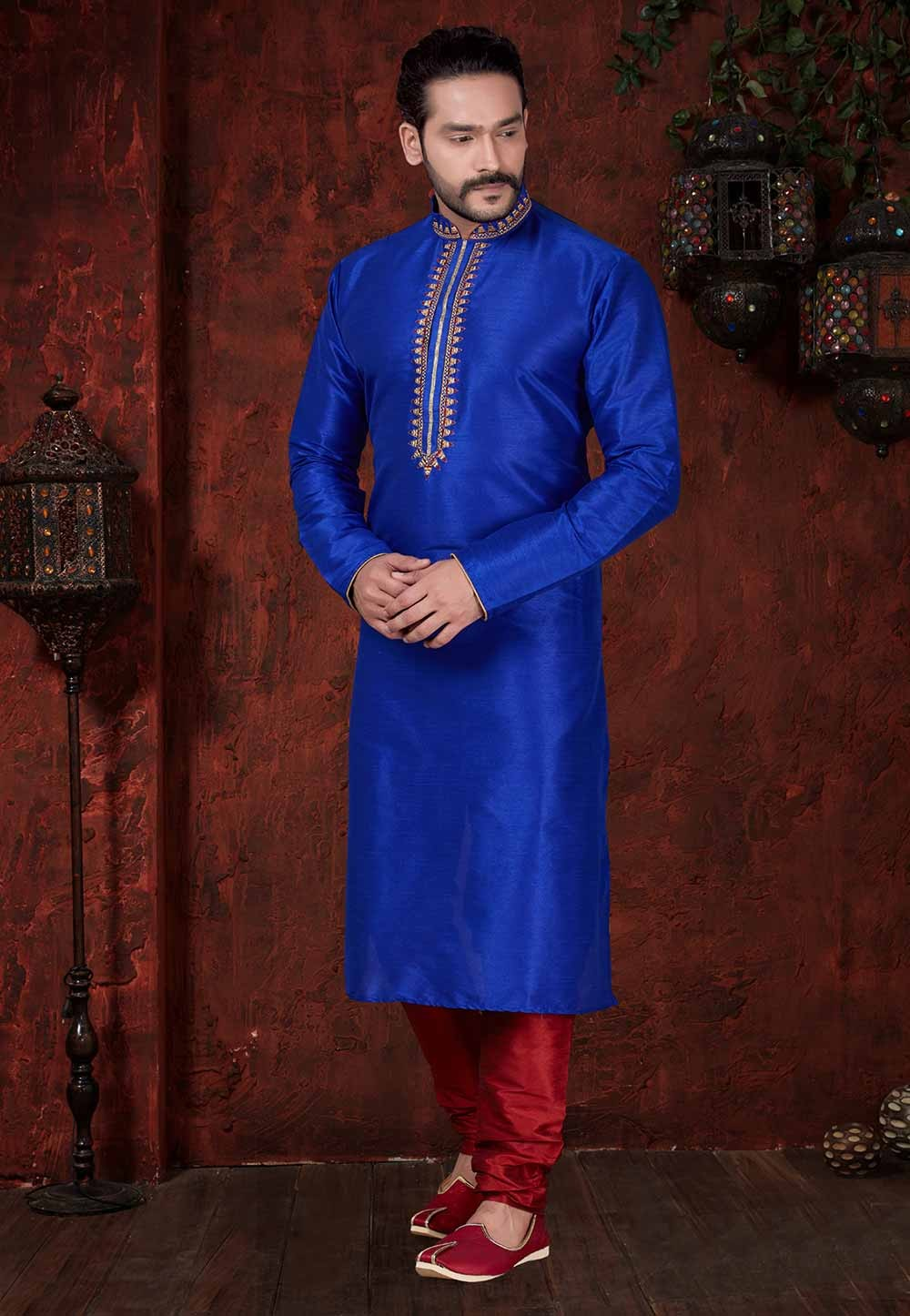 Blue Colour Party Wear Kurta Pajama.