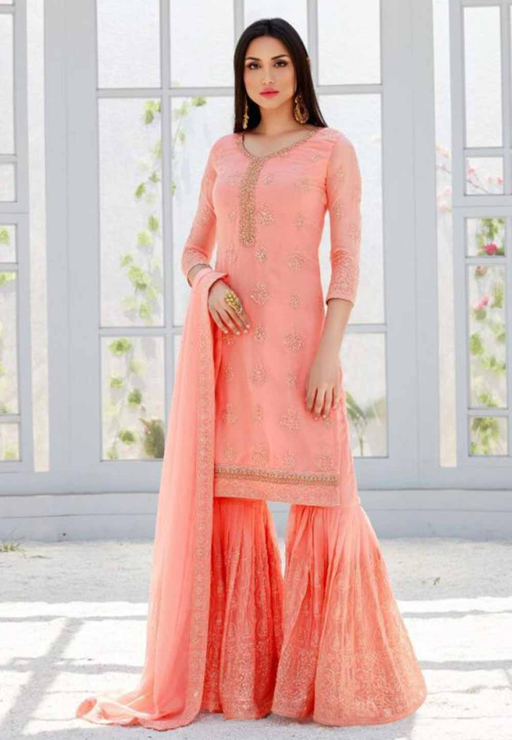 Peach Colour Sharara Salwar Suit.