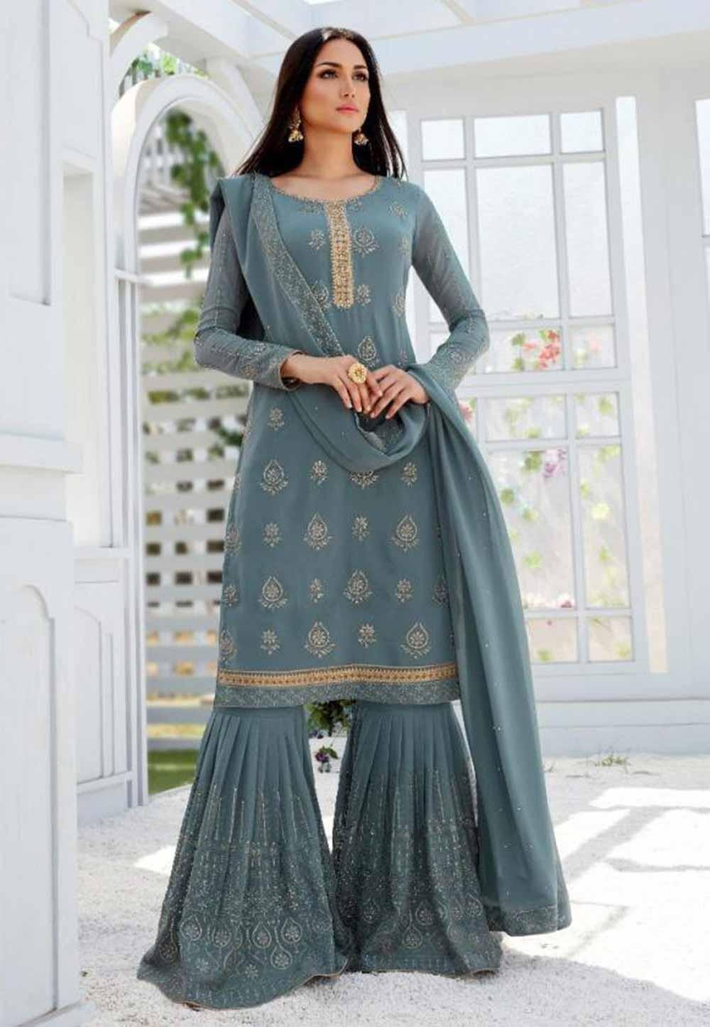 Grey,Blue Party Wear Sharara Salwar Suit.