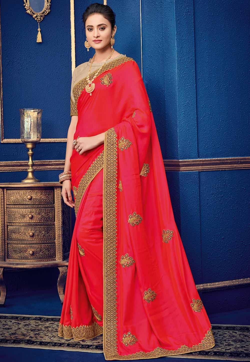 Red Colour Indian Saree.