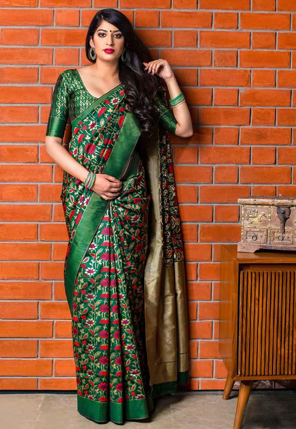 Green Colour Party Wear Saree.