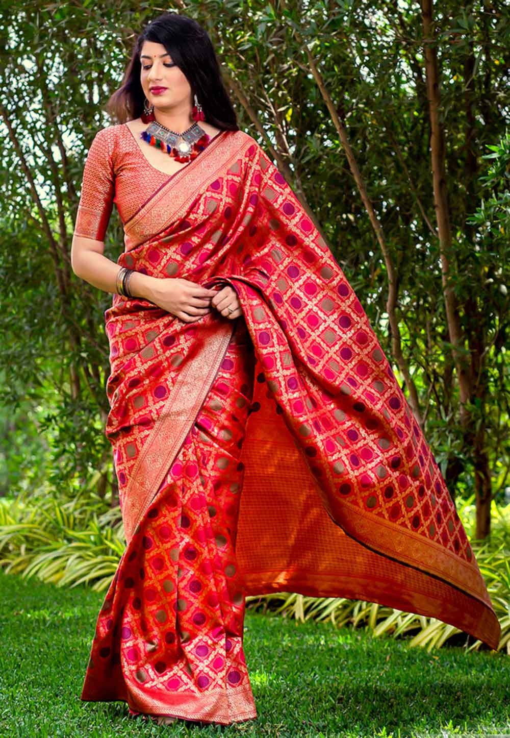 Red Colour Silk Saree.