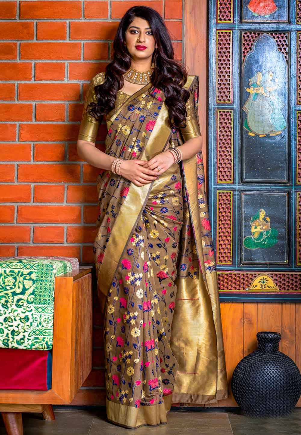 Beige Colour Designer Sari.