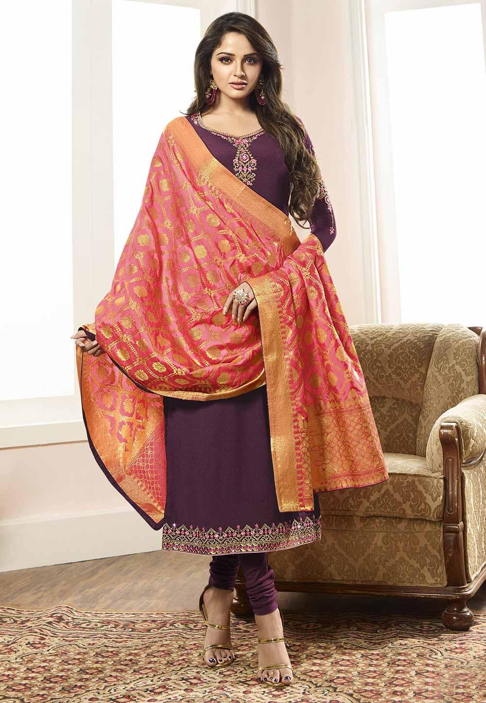 Purple Colour Designer Salwar Suit.