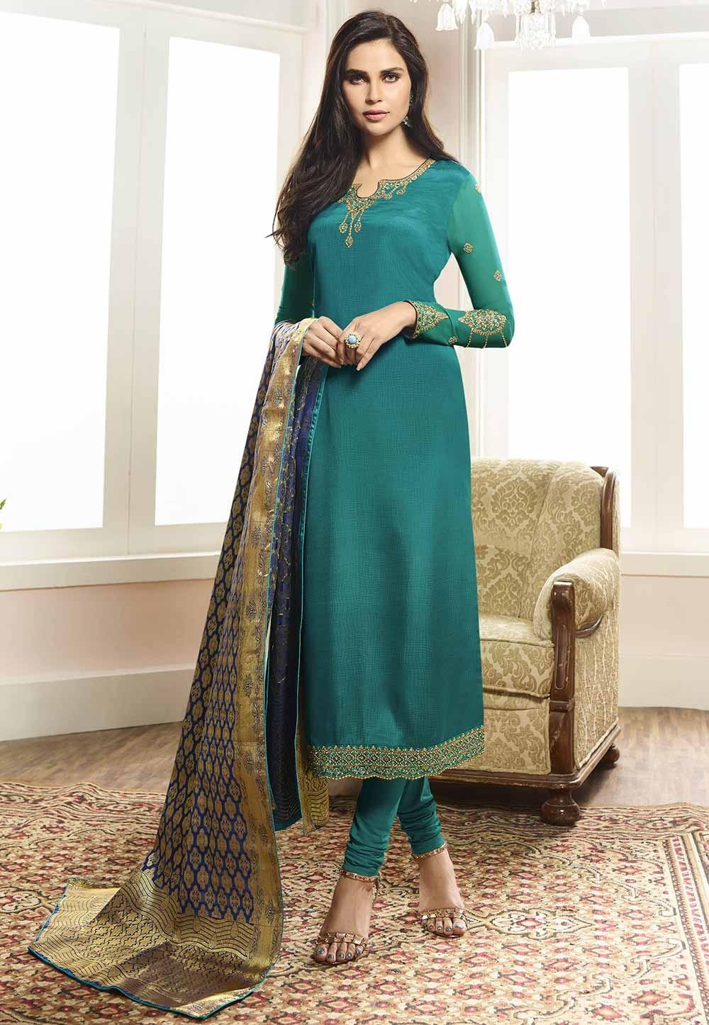 Green Colour Party Wear Salwar Suit.