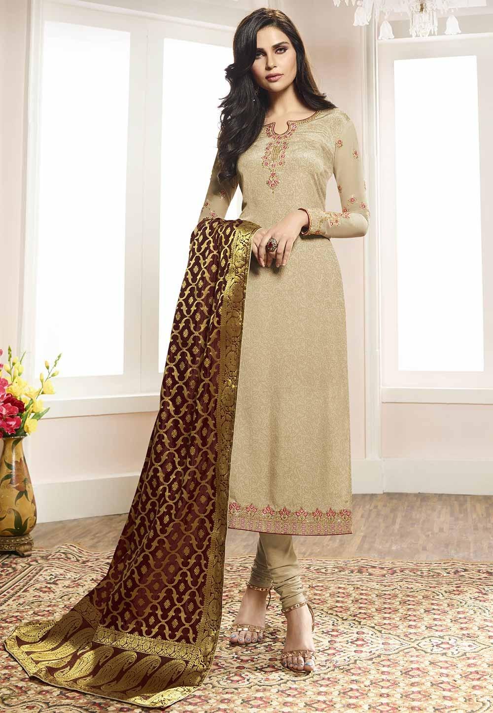 Beige Colour Salwar Suit.
