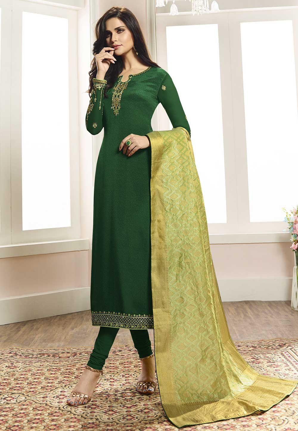 Green Colour Silk Salwar Suit.