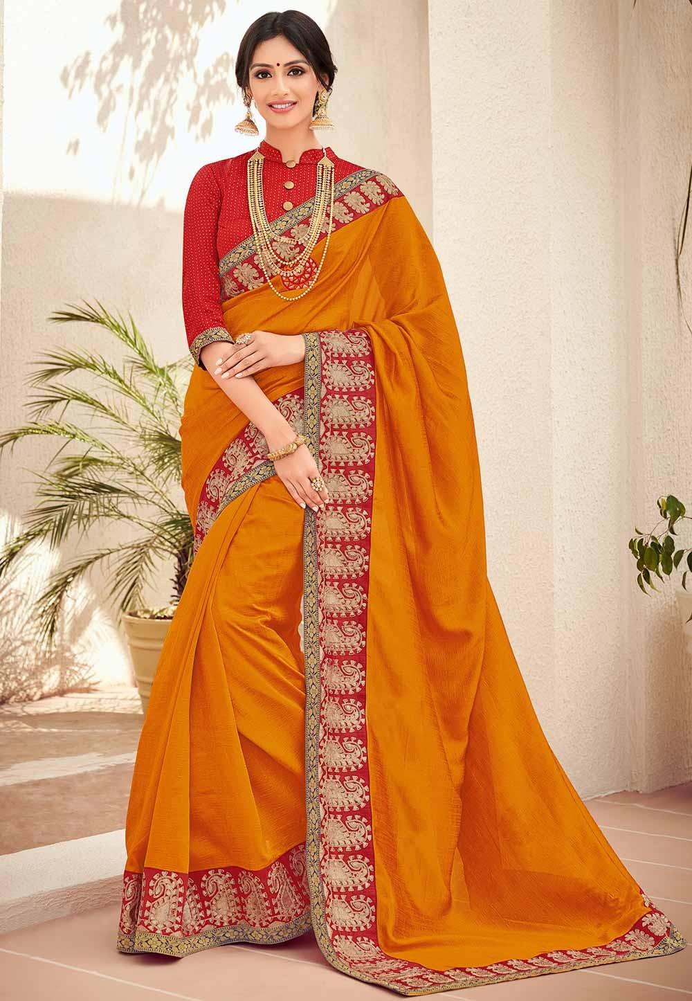 Orange Colour Silk Saree.