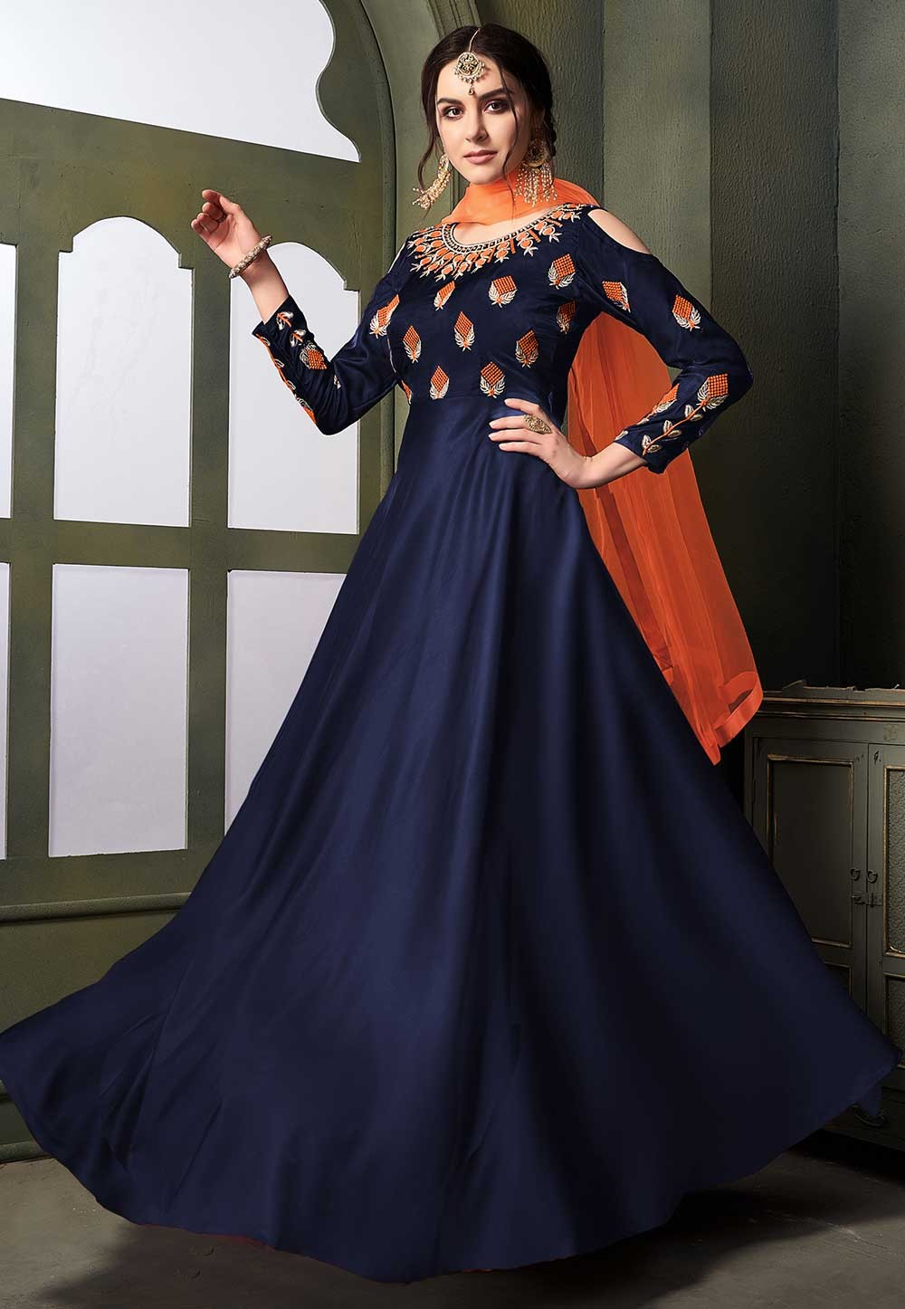 Blue Colour Party Wear Salwar Suit.