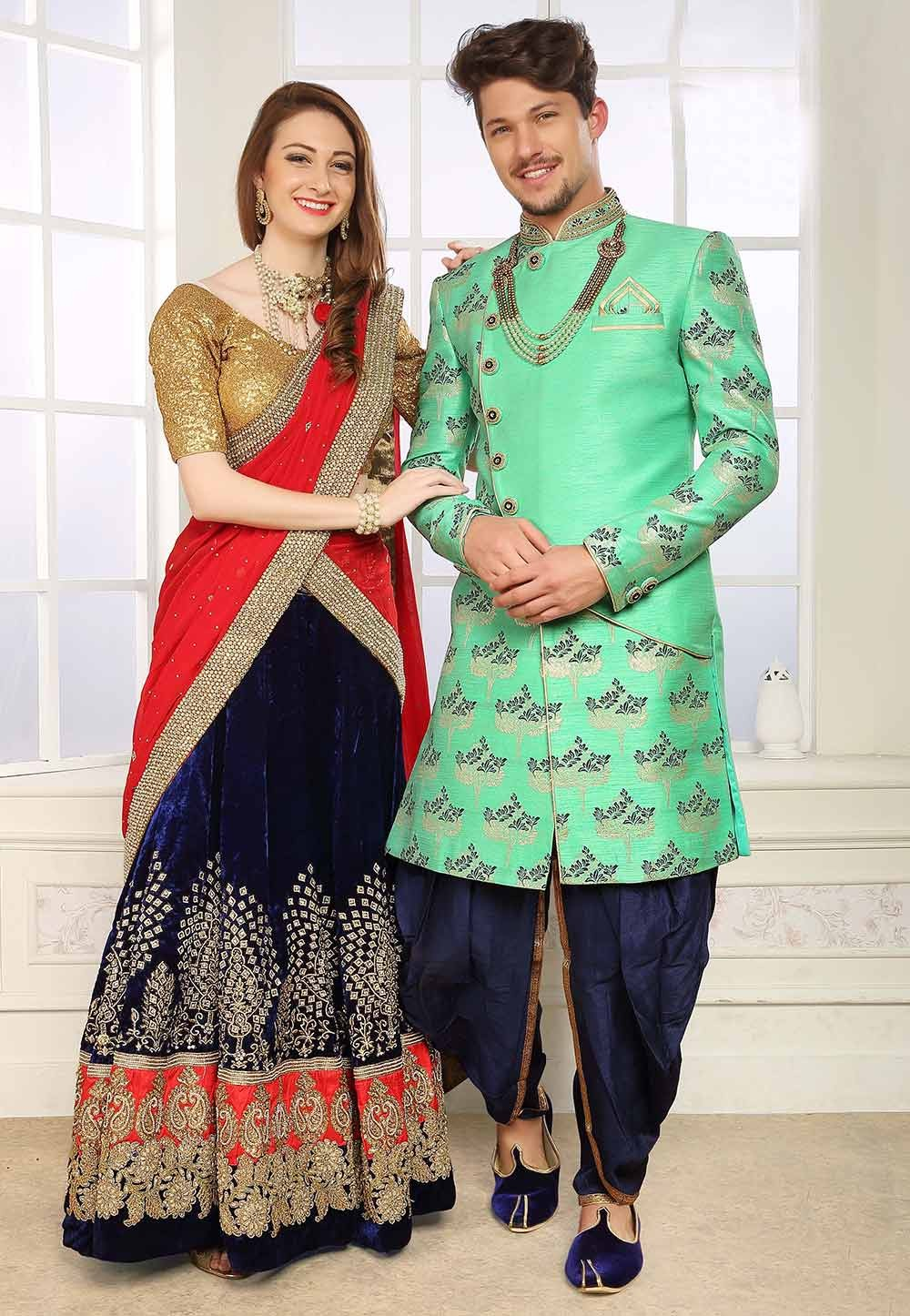 Green Colour Men's Indowestern.