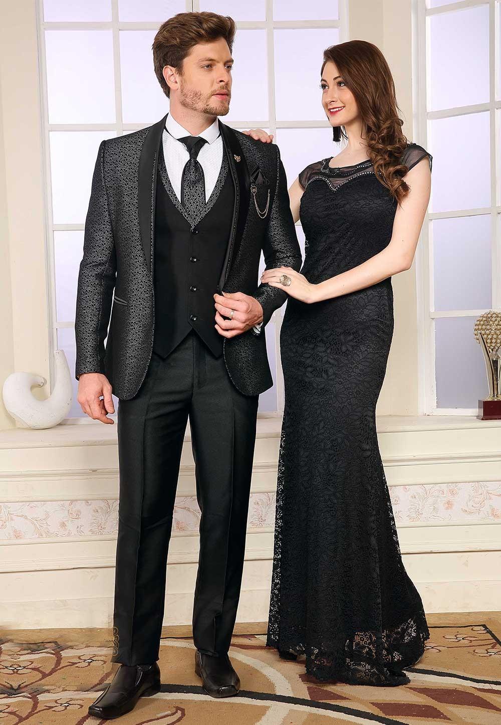 Grey,Black Colour Designer Suit.