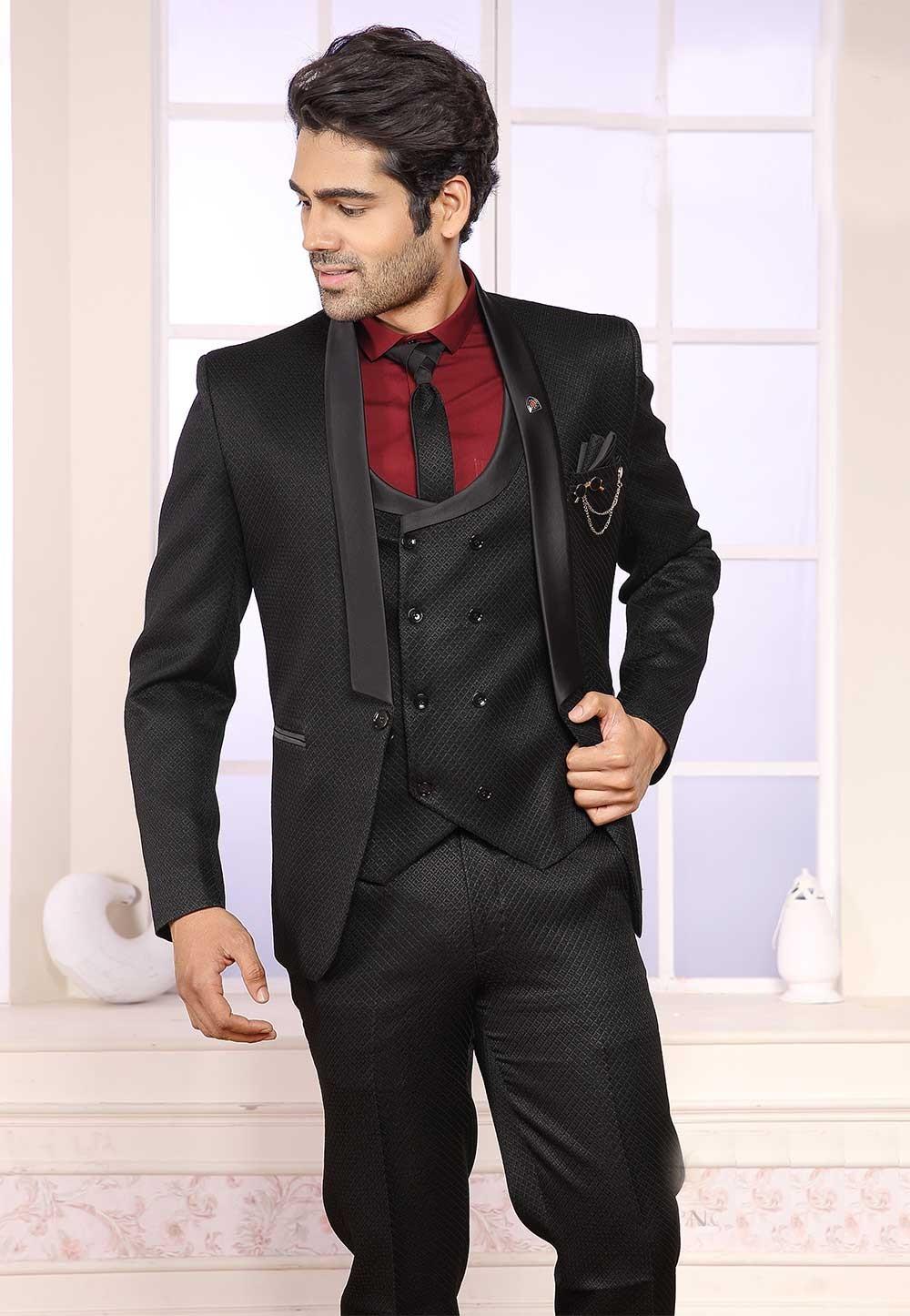 Black Colour Imported Fabric Party Wear Suit.